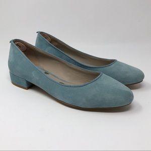 Boden Amelie Low Block Heel Suede Light Blue
